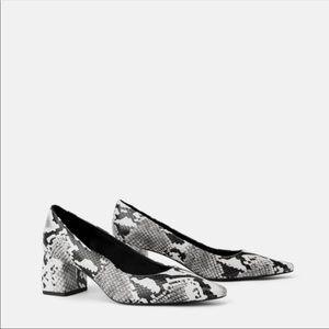 Zara snakeskin pointed block heels